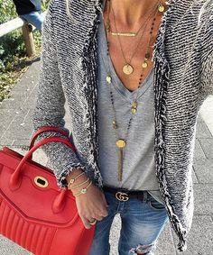 WEBSTA @ annamavridis - Today's @goldonimilano bracelets @delage_official bag @antoniakarra @hermina_wristwear @kabana_resort_wear necklaces #iro jacket #gucci belt #zara tshirt