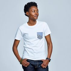 Limited edition white contrast pocket t-shirt!!   #contrastpocket #tshirt #genderneutral #unisex #tomboystyle #androgynous #consciousfashion #sustainablefashion #whitetshirt #springstyle #summerstyle
