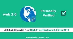 High Pr verified web 2.0 Sites 2016 from which you can increase your Link building what is web 2.0 tested and verified web 2.0 list