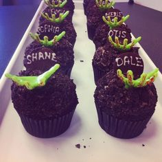 @Rachel Oginsky its like your cupcakes but with a spin Zombie cuppy cakes for a Walking Dead party