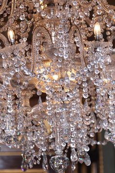 Crystal chandelier to match the beautiful beading on the Reem Acra gown <3