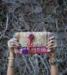 One of my most cherished accessories is my CL Bazaar Embroidered Clutch, hand selected by Chan herself on her most recent trip to India. It adds the perfect punch of color against my Off the Should. Estilo Folk, Estilo Hippie Chic, Hippie Style, Boho Gypsy, Hippie Boho, Ethnic Bag, Ibiza Fashion, Fashion Accessories, Women Accessories