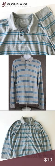 """👔 Croft and Barrow men's top, size M Grey and blue men's striped top from Stafford.  Long sleeve polo.  Relaxed fit, classic style.  🍈 Size medium - shoulders 16"""", chest 42"""", waist 42"""", length 24"""" 🍈 Condition: good - light wear throughout 🍈 Material: 100% cotton croft & barrow Shirts Polos"""