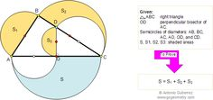 Geometry Problem 99. Circle Area, General Extension to Pythagoras' Theorem, High School, College, Teaching, Education