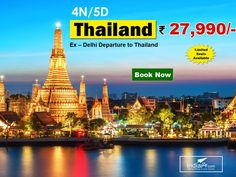 Amazing Thailand Tour Package  4N/5d @ just ?27,990/- With Flight Ex- Delhi  Inclusions :-  - 02 nights stay at pattaya.   - 02 nights stay at Bangkok. - Daily Breakfast(04 Nos). -   Ex – Delhi economy class return air ticket. - Transfer from Suvarnabhumi Airport to Pattaya Hotel One Way – SIC. -   Coral Island Half Day Tour with Indian Lunch – SIC.   - Pattaya Hotel to Bangkok Hotel Transfers One Way – SIC.   - Bangkok City Tour with Gems Gallery – SIC (Golden & Marble Buddha)…