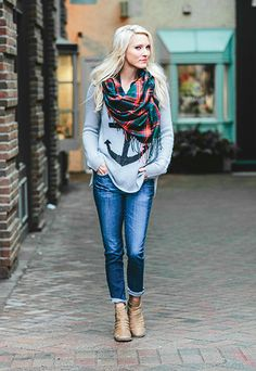 """Love the """"Anchor Raglan"""" - It looks really nice with the skinny jeans, scarf, and booties. This look is from Evereve! (Check out evereve.com)"""