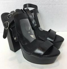 Yes Tracy Black Platform Chunky Heel Sandals Size 8 Goth Club Goth Club, Club Shoes, Black Platform, Chunky Heels, Sandals, Ebay, Women, Heeled Sandals, Slide Sandals