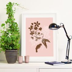 Knoppa art print from Formstigen2a.se.  Bird and flowers on pink. Inspired by Swedish spring.