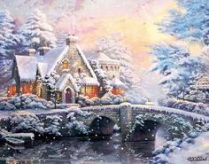Thomas Kinkade Jigsaw Puzzle Winter at Lamplight Manor Sealed 1000 pcs Rare Thomas Kinkade Art, Thomas Kinkade Christmas, Winter Painting, Winter Art, Christmas Pictures, Christmas Art, Beautiful Paintings Of Nature, Beautiful Christmas Scenes, Kinkade Paintings