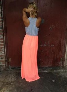 Neon Coral And Grey Maxi Dress
