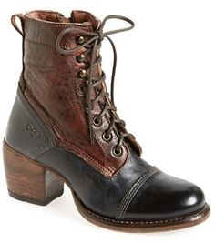 Bed Stu 'Oath' Two-Tone Cap Toe Boot (Women), A cap-toe boot keeps its vintage vibe going strong with hand-finished, slightly relaxed leather and a hook-and-lace vamp. The two-tone design is at once rustic and simply sophisticated.