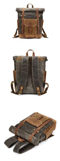 Waxed Canvas Backpack Rucksack Travel Backpack