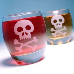 1 Pirate Skull & Crossbones  Jolly Roger  Etched