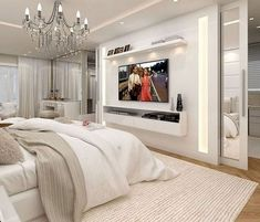 Master Bedroom Ideas 46 Cool Bedroom Tv Wall Design Ideas - Beds, Beds And Beds! Bedroom Tv Wall, Home Decor Bedroom, Bedroom Ideas, Bedroom With Tv, Wall Tv, Bedroom Storage, Bedroom Inspiration, Bedroom Bed, 2 Mirrors In Bedroom