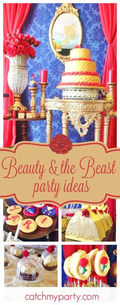 Don't miss this incredible Beauty & the Beast birthday party! The birthday cake is amazing!!! See more party ideas and sahre yours at CatchMyParty.com