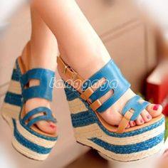 Sweet Colorful Womens Platform Wedge High Heel Slingbacks Buckle Sandal Shoes #Unbranded #PlatformsWedges #Casual