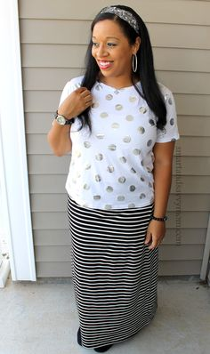 silver polka dot top and black and white striped maxi modest outfit idea