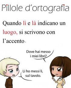 ortografia lingua italiana lì là pillole