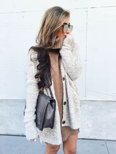 Knit sweater dress and cardigan