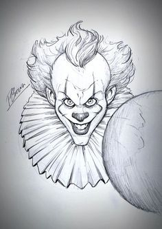IT sketch giveaway by PatrickBrown - - Zeichnung IT-Skizzen-Wer Scary Drawings, Joker Drawings, Dark Art Drawings, Halloween Drawings, Art Drawings Sketches Simple, Pencil Art Drawings, Joker Sketch, Batman Drawing, Sketch It