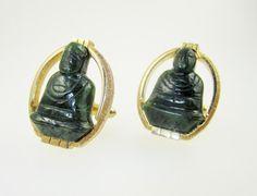 Jadeite Buddha Vintage Cufflinks Signed Swank by LadyandLibrarian @lauraorcutt