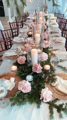 Calling all modern princesses! Blush pink blooms, Ivory linens & napkins, gold plate chargers with a greenery table runner were just a few of our favorite elements. Pink Wedding Centerpieces, Diy Wedding Decorations, Reception Decorations, Wedding Themes, Wedding Ideas, Rose Gold Table Decorations, Long Wedding Tables, Wedding Floral Arrangements, Elegant Party Themes
