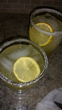 Sugar Rimmed Golden Margaritas with Lemon (Double Click For Link To Recipe)