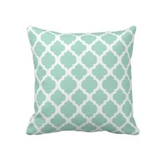 Mint green and white Moroccan Throw Pillow