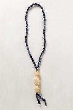 anthro / matthew addonizio - sapa necklace:  bird's eye maple + vintage indigo textile + copper + cotton twine