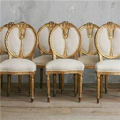 ... Kind Vintage Dining Chair Aged Gold Gilt Set of 6 - gold, gilt, chairs
