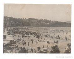 SAN SEBASTIÁN, LA PLAYA 1910 APROX. FOTO: RICARDO MARTÍN, PHOTO-CARTE. 16X22 CM. - Foto 1