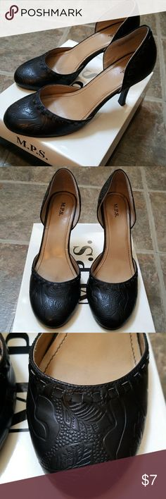 M.P.S. Black Heels - Size 7.5M Style: Irony , Good Condition. View photos carefully-  small scuffs near heel. M.P.S. Shoes Heels