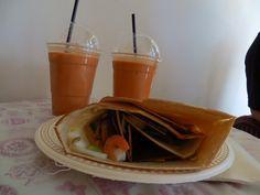Pad Thai Crepe with Thai Iced Milk Tea from Crepe Avenue! Thai Milk Tea, Ice Milk, Waffles, Pudding, Breakfast, Desserts, Food, Morning Coffee, Tailgate Desserts