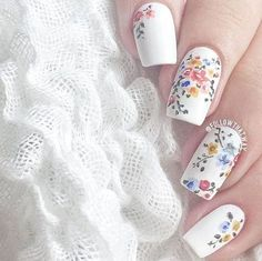 """Posting for the nail art! """"Save yourself a trip to the salon by safely removing your gel nail polish at home"""" nail art designs 2019 nail designs for short nails 2019 best nail stickers self adhesive nail stickers full nail stickers Floral Nail Art, White Nail Art, White Nails, Flower Nail Designs, Cute Nail Designs, Popular Nail Designs, Floral Designs, Spring Nail Colors, Spring Nails"""