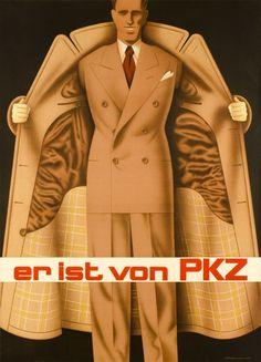 1937 PKZ, it is a PKZ! Swiss men clothing company vintage advert poster