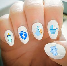 Nail Decals Baby Boy Decals Baby Feet Bottle Teddy Bear Stroller Water Transfer Nail DecalsFashionable Nail ArtCustom Nail Decals by ShopRisasPieces on Etsy Baby Shower Nails Boy, Baby Boy Nails, Baby Nail Art, Nail Art Designs, Nail Designs Pictures, Nail Decals, Nail Stickers, Feet Nails, Trendy Nail Art