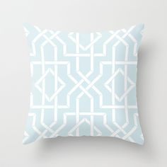 Modern Bamboo Tile Lattice in Light Blue Mist Throw Pillow by aygeartist - $20.00