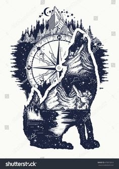 Wolf and mountains double exposure tattoo art. Symbol tourism, travel, adventure, outdoor. Wolf howls tattoo, mountain compass and night sky t-shirt design #WolfTattooIdeas