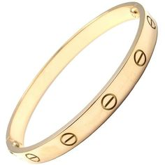 Preowned Cartier Love Yellow Gold Bangle Bracelet Size 17 (€5.385) ❤ liked on Polyvore featuring jewelry, bracelets, yellow, bracelets & bangles, bangle bracelet, 18k gold jewelry, 18k bangle and 18k bangle bracelet