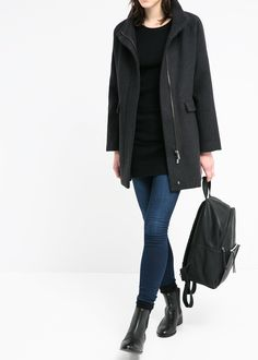 Cotton wool-blend coat - Coats for Women | MANGO