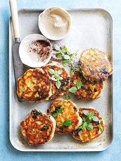 Light and tasty, our tahini, chickpea and spinach fritters make a great snack or a wholesome dinner. Tap the link in the bio for the… Veggie Recipes, Vegetarian Recipes, Cooking Recipes, Healthy Recipes, Chickpea Recipes, Vegetarian Appetizers, Dessert Recipes, Chickpea Fritters, Veggie Fritters