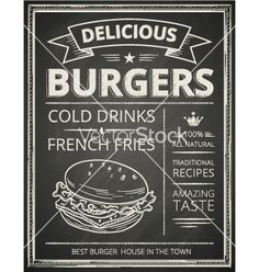 Burger chalkboard poster vector by hoverfly on VectorStock®