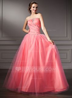 Ball-Gown Strapless Floor-Length Tulle Quinceanera Dress With Ruffle Beading Sequins (021002898) - JJsHouse