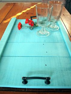 Teal Wooden Serving Tray With Handles, Kitchen Serving Tray, Reclaimed Wood…