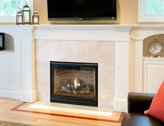Crema Marfil Marble Fireplace - modern - living room - boston - CounterEdge - Studio All Day Images Of Fireplaces, Marble Fireplaces, Modern Fireplace, Fireplace Ideas, Home Goods Decor, Home Decor, Fireplace Surrounds, Humble Abode, Built Ins