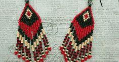 """8/0 seed beads Miyuki """"Opaque Black"""" (401) 11/0 Miyuki Delica beads """"Opaque Black"""" (DB10) 11/0 Miyuki Delica beads """"Dyed Opaque Red"""" (... Beaded Earrings Native, Fringe Earrings, Diy Earrings, Seed Bead Patterns, Beaded Jewelry Patterns, Beading Patterns, Native American Beadwork, Native American Fashion, Brick Stitch Earrings"""