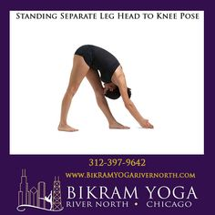 Bikram's Standing Separate Leg Head to Knee Pose Bikram Yoga Poses, North Chicago, Body Parts, Separate, Legs, Pull Apart