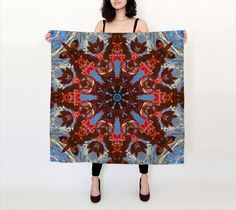 Autumn leaves, birch, sky mandala silk scarf, blue, red, gray, white, Dogwood, all occasion gift, square scarf, long scarf by RVJamesDesigns on Etsy
