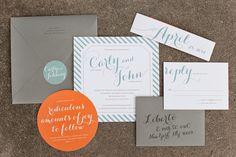 Carly + John's Modern Blue + Orange Wedding Invitations | Design Credit: Melissa and Amy from Atheneum Creative | Photo Credits: Chelsea Davis Photography