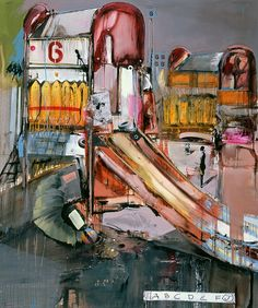 """Painting that Daddy bought for baby Hadley! """"The Playground"""" by Marcus Jansen."""